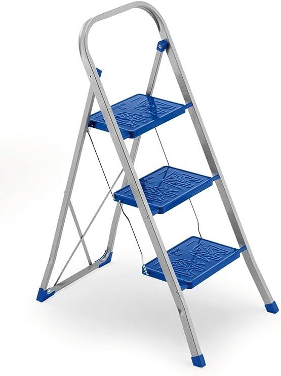 FRAMAR Slimmy 3 - Taburete con 3 peldaños Antideslizantes, Bloqueo de Seguridad y Patas angulares estabilizantes, Capacidad 150 kg, 46 x 70 x 105 cm, Acero, Azul: Amazon.es: Hogar