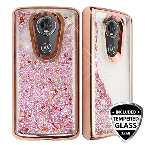 TJS Motorola Moto E5 Plus/E5 Supra/E Plus 5th Gen Case, with [Full Coverage Tempered Glass Screen Protector] Glitter Liquid Chrome Bump Hybrid Shockproof Protector Motion Phone Armor Case (Rose Gold)