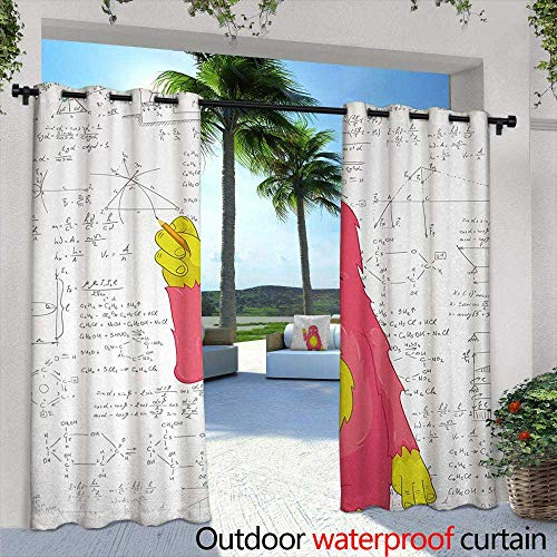 Tim1Beve Outdoor Curtains Kids Funny Smart Monster Doing Math on Wall Science Nerds Comic Illustration Pattern for Patio/Front Porch 84
