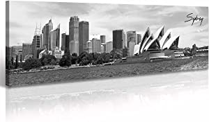 Sydney Skyline Wall Art Decor Canvas Print Black and White City Building Landscape Poster Australia Cityscape Modern Artwork Painting for Bedroom Office Home Decoration - 13.8