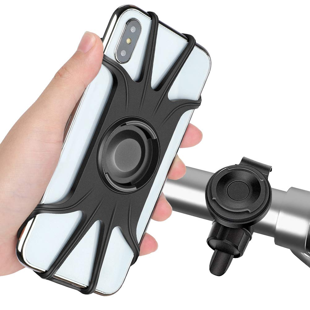 Detachable Bike Phone Mount, 360° Rotatable Bicycle & Motorcycle Handlebar Cell Phone Holder Universal fit for iPhone Xs Max XR X 6S 6 7 8 Plus, Galaxy S9 S10 S10e Note 9, Other 4-6.5'' Phones Cycling by AONKEY