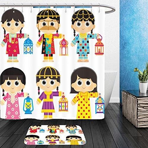 United Arab Emirates Costume (Vanfan Bathroom 2?Suits 1 Shower Curtains & ?1 Floor Mats girls are wearing an old traditional clothes in united arab emirates uae and carrying ramadan 557078281 From Bath room)