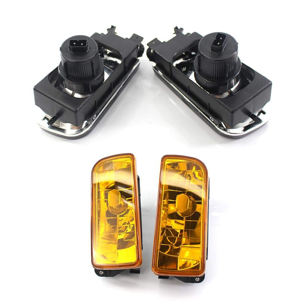 Mlec tech 2Pcs/Pack Directly Replacement Fog Lights for E36 1992-1998 - Black Amber