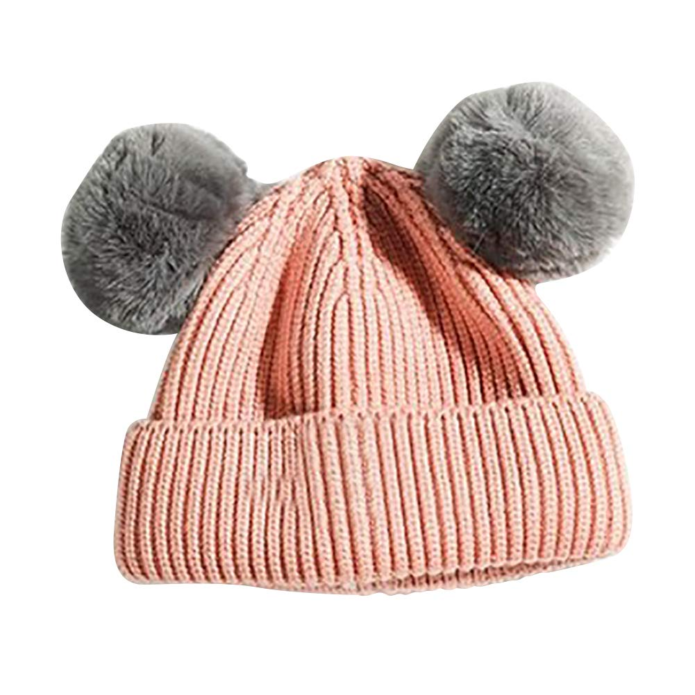 9e176979ac0 Amazon.com  HEART SPEAKER Baby Boy Girl Winter Outdoor Warm Knitted Double  Pompom Beanie Cap Child Hat  Clothing