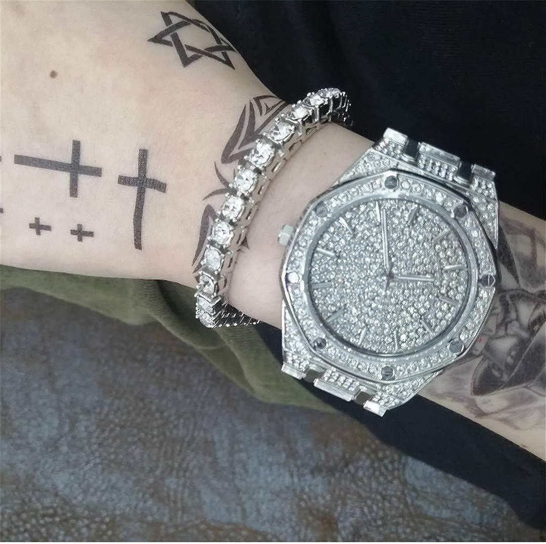 MTRESBRALTS Hip Hop - Pulseras para hombre, oro y plata, con cristal y cristal miami, cadena cubana, reloj para hombre, pulsera y pulsera