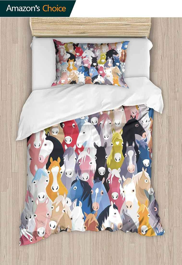 Abstract Home Decor Custom Made Quilt Cover and Pillowcase Set, Pattern with Colourful Cartoon Horses, Bedding Set with Zipper Ties 1 Duvet Cover 1 Pillow Sham Ultra Soft Luxurious Breathable