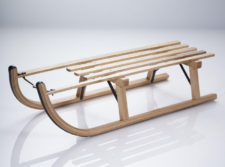 Davoser Rodelschlitten Holz-Schlitten Original Sirch 90 cm Buche lackiert