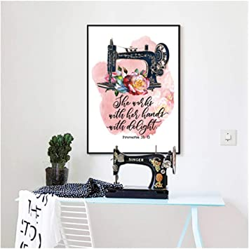 Proverbios de máquina de coser vintage 31:13 Carteles e ...