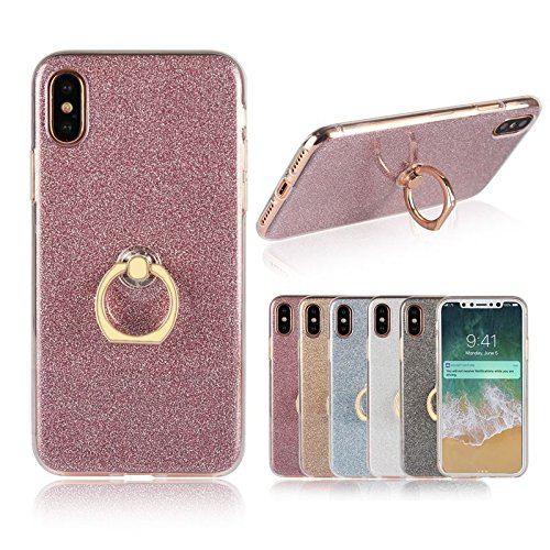 shoppingmal Fashion Glitter Bling Soft TPU Phone Case Metal Ring for iPhone X 8 7 6 6S Plus 5 5S SE Samsung Galaxy Note 8 5 4 3 S8 Plus S7 S6 Edge S5 S4 S3 J3 J5 J7Ultra Thin Back Cover