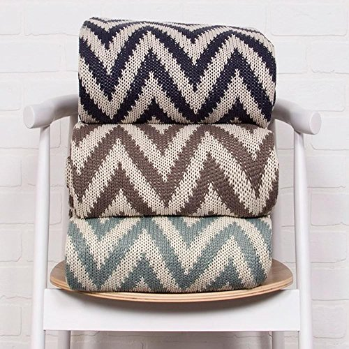 Ben and Jonah Soft Hand Chevron Pattern Cotton Throw Blanket (Blue Grey) by Ben&Jonah (Image #1)