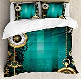 Industrial 4 Pieces Bedding Set Twin, Antique Items Watches Keys and Chains with Steampunk Influences Illustration, Duvet Cover Set Decorative Bedspread for Childrens/Kids/Teens/Adults, Multicolor
