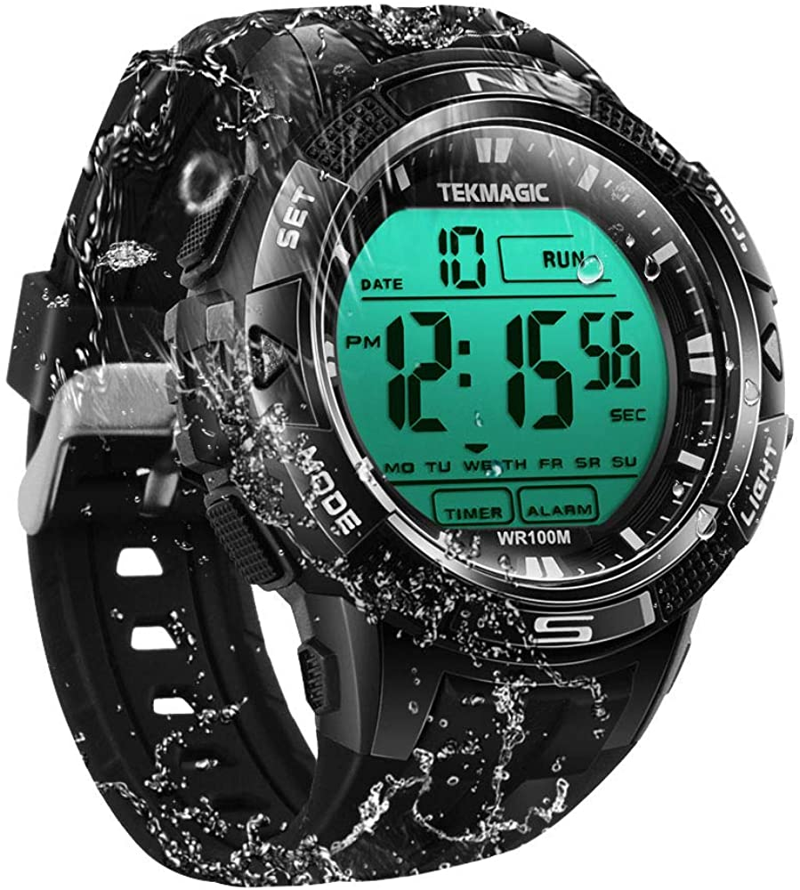 TEKMAGIC 10ATM Waterproof Sport Watch for Swimming Diving with Stopwatch, 12 24 Hour Format, Dual Time Zone, Alarm Functions 2019 Version