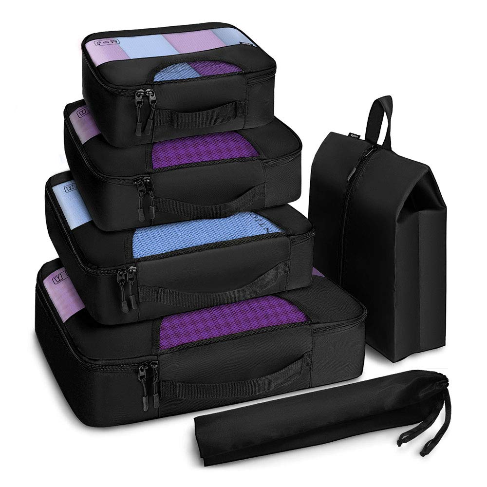 751a93373928 Veken 6 Set Packing Cubes, Travel Luggage Organizers with Laundry Bag &  Shoe Bag