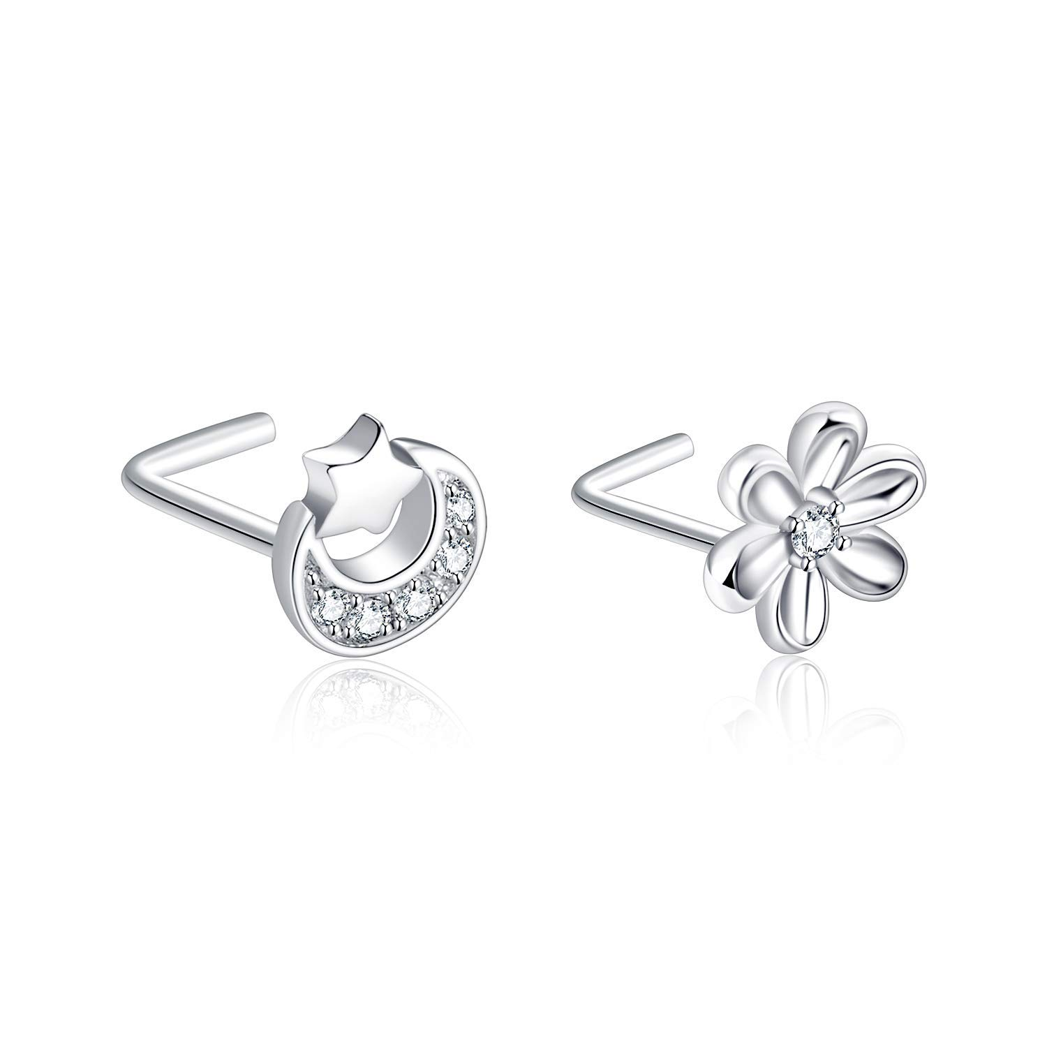 POPLYKE 2PCS Sterling Silver L Shape Daisy Flower Nose Rings and Star Moon Nose Rings for Women Girls