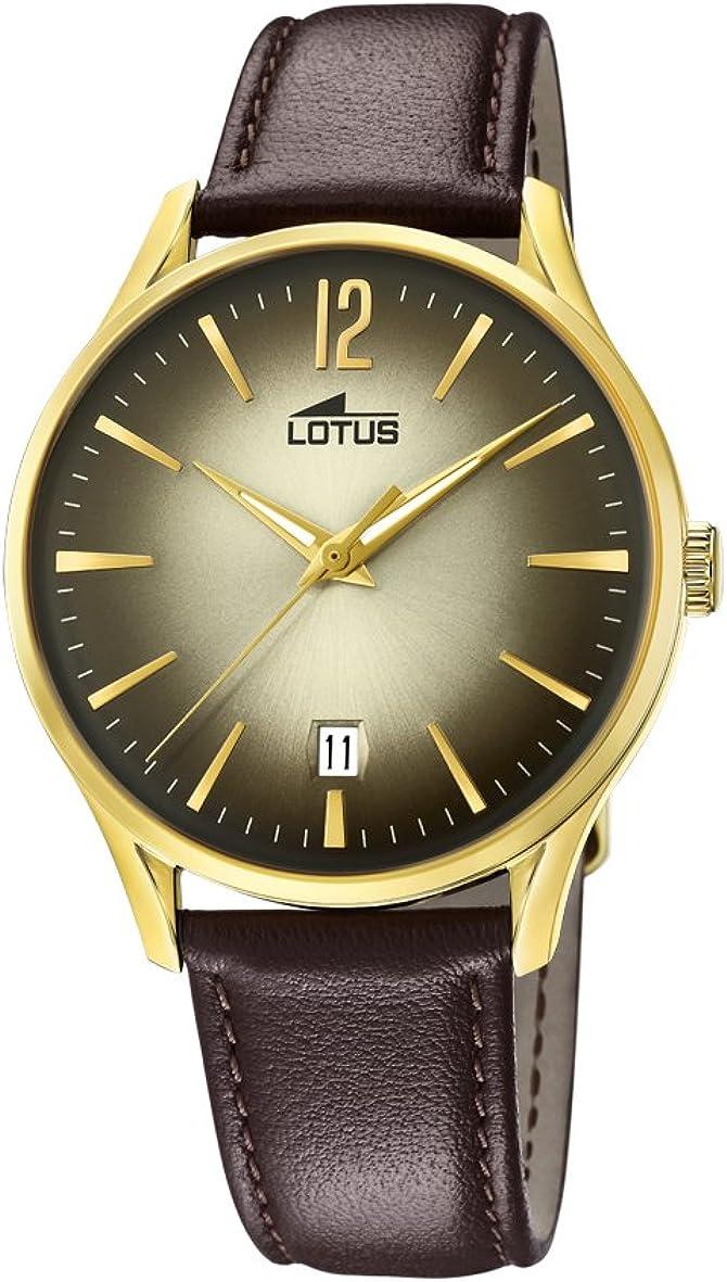 Lotus Watches Reloj Análogo clásico para Hombre de Cuarzo con Correa en Cuero 18403/2