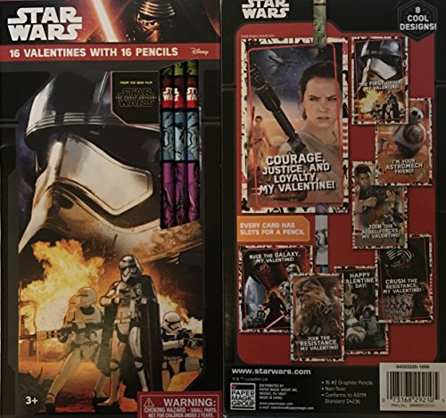 Star Wars Valentines with Pencils ~ 16 count ~ 1 box