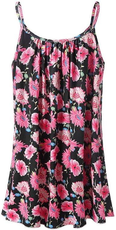 Transer Womens Tank Tops Bohemian Print Ruched T-Shirt Summer Beach Sleeveless Tee Casual Loose Blouses