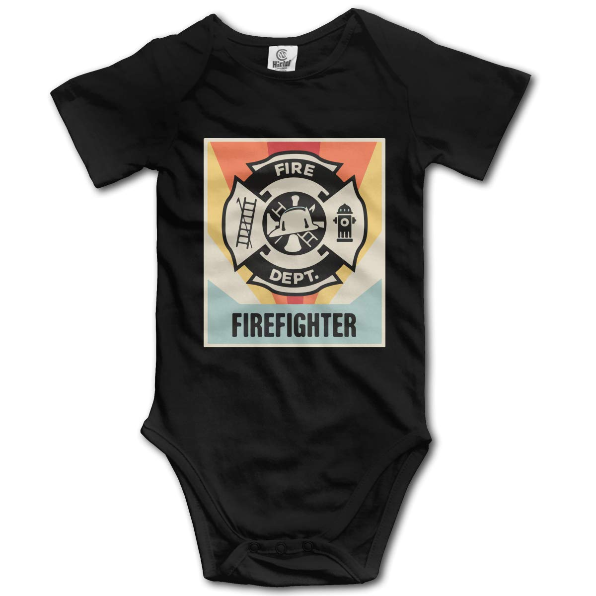 Newborn Vintage Style Firefighter Short Sleeve Climbing Clothes Bodysuits Jumpsuit Suit 6-24 Months