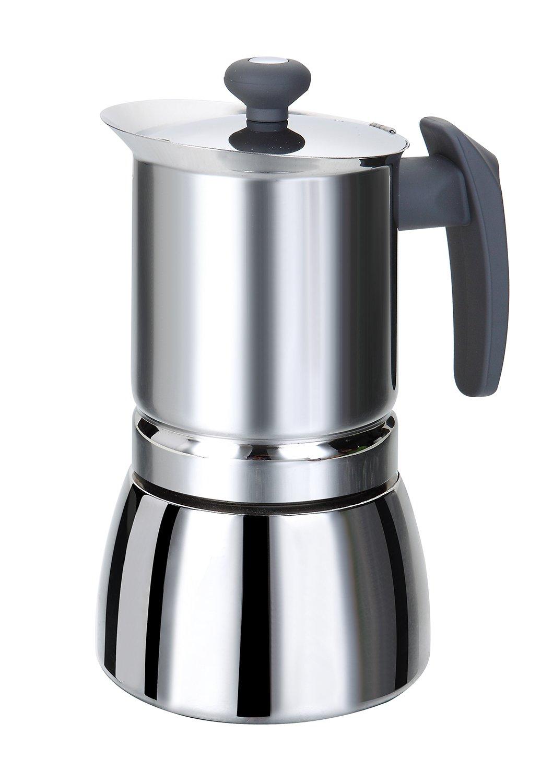 Rossetto – Edelstahl-Espressokocher mit Griff – Grau, edelstahl, 4 Tassen