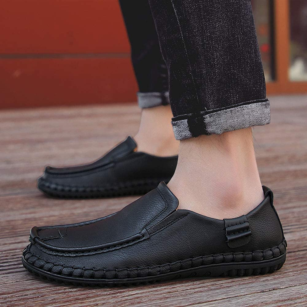 Menshoes Leisure Driving Loafers for Men Oxfords Casual Flat Penny Shoes Leather Upper Slip On Walking Boat Shoes Lightweight Comfortable