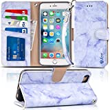 iPhone 6s / 6 Plus Case, Arae Purple Marble Design [Wrist Strap] Flip Folio [Kickstand Feature] PU Leather Wallet case with ID&Credit Card Pockets for iPhone 6 / 6s Plus (not for iPhone 6s / 6)