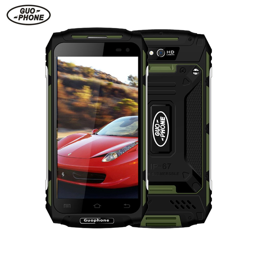 Dual SIM Smartphone Unlocked Android, Guophone X2 5.0 ''HD 4G MTK6737 Quad Core IP67 Waterproof Phone 2GB + 16GB Android 6.0 8MP GPS 5500mAh Smartphone