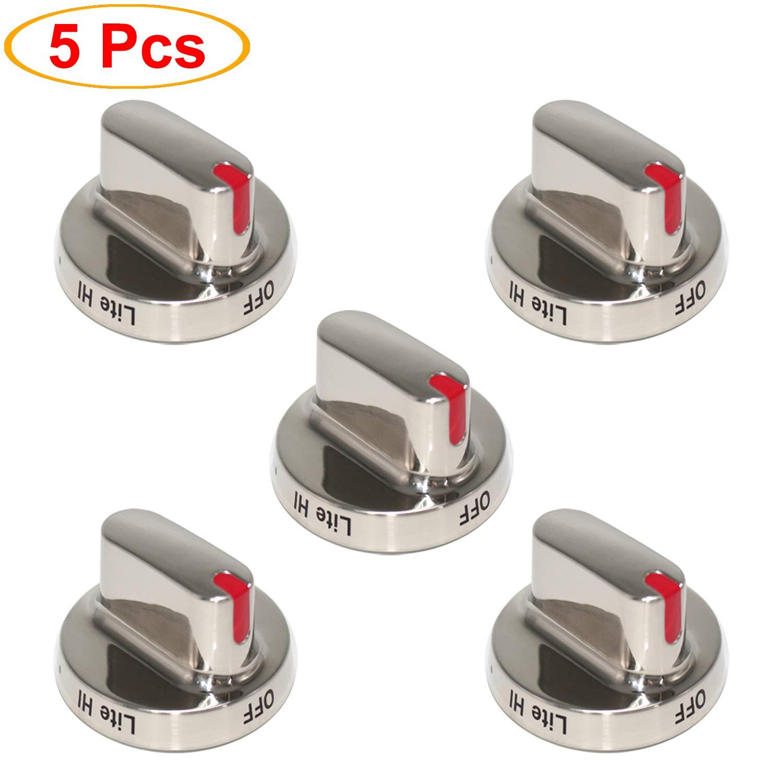 S-Union Dg64-00473A Dial Knob Compatible with Samsung Range Oven Gas Stove Knob Replace for DG64-00347A, DG64-00347B, DG64-00472A, AP5325363, PT15217047, PS4241101, EAP4241101, AH4241101 (5 Pack)