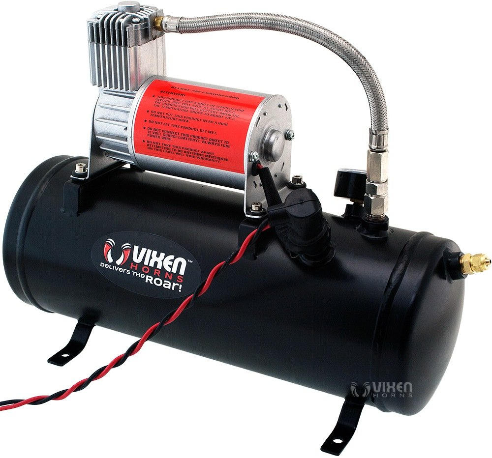 Vixen Horns Train Horn Kit for Trucks//Car//Semi Fits Vehicles Like Pickup//Jeep//RV//SUV 12v VXO8530//4114 Super Loud dB 4 Trumpets Complete Onboard System- 150psi Air Compressor 1.5 Gallon Tank
