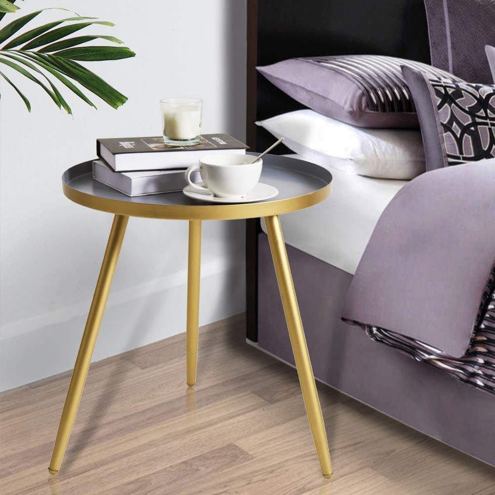 Tiita Round End Table Mental Side Table Nightstand/Small Iron Tables Accent Coffee Table for Living Room Bedroom Office Small Space(Large Gray)