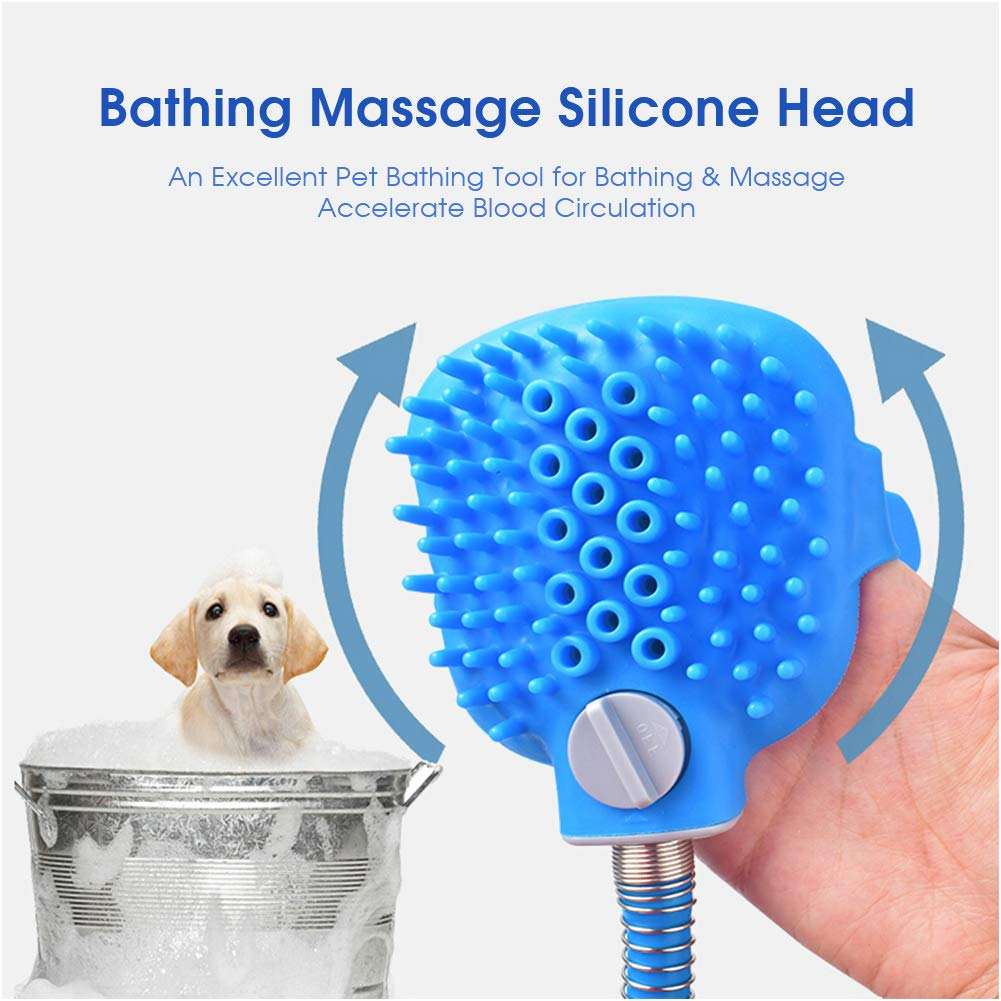 EDUPLINK Pet Bathing Tool Pet Shower Sprayer & Scrubber in-One, Dog Cat Horse Grooming Massage Shower Bath Tub & Outdoor Garden Hose Compatible for All Types of Pets