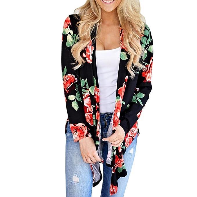 Koly Mujeres Irregulares Cardigans de manga larga Impresión de deporte floral abrigos de mujer Casual Outwear