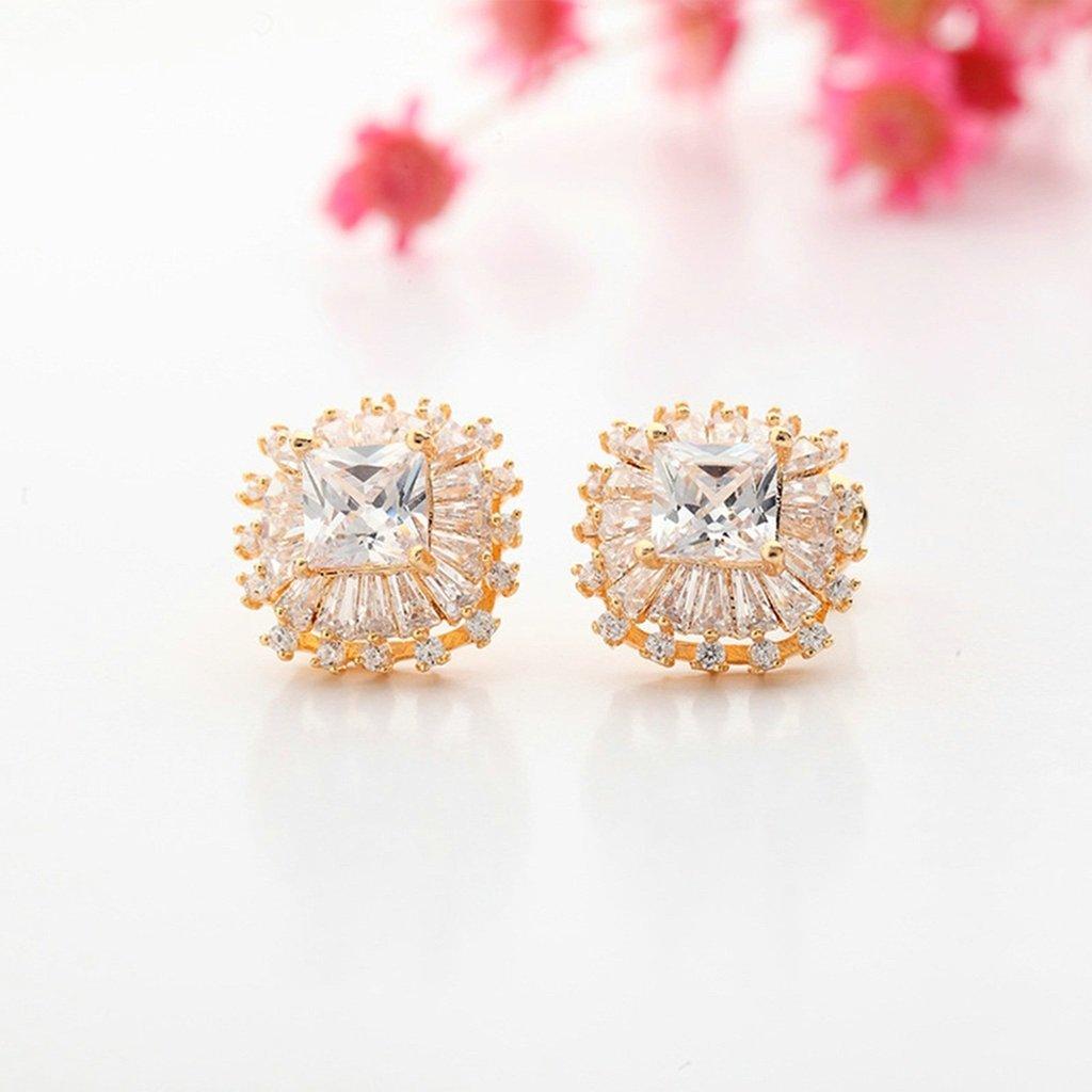 KnSam Women Rose Gold Plate Pierced Stud Earrings Edelweiss Flower Crystal Rhinestone Champagne