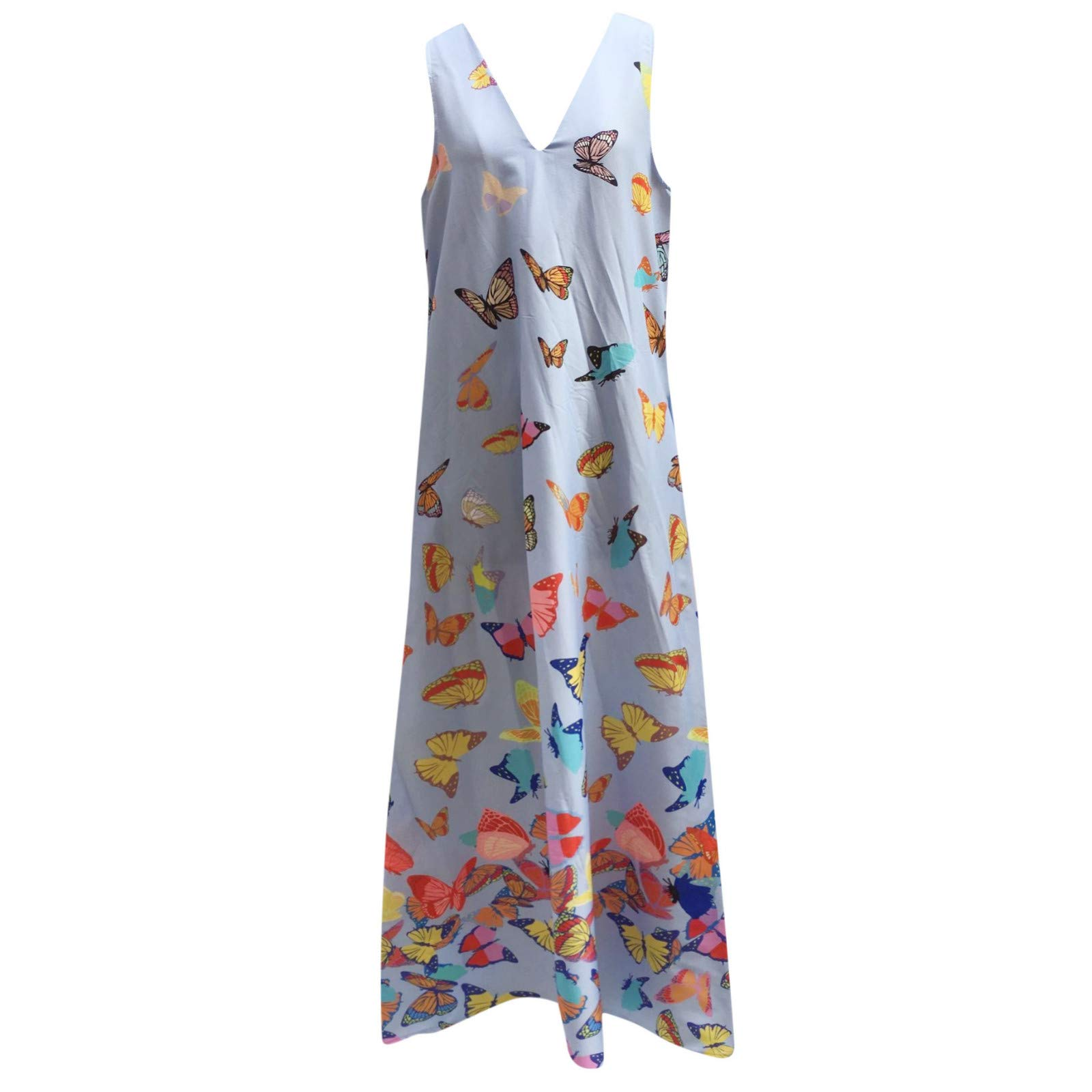 Shusuen Woman Sleeveless Loose Plain Maxi Dresses Casual Long Dresses with Pockets Sexy V Neck Tunics Smock Blue by Shusuen_Clothes (Image #4)