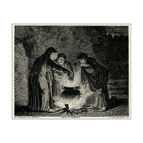 10X8 Print Of Macbeth/witches/cauldron (608330)