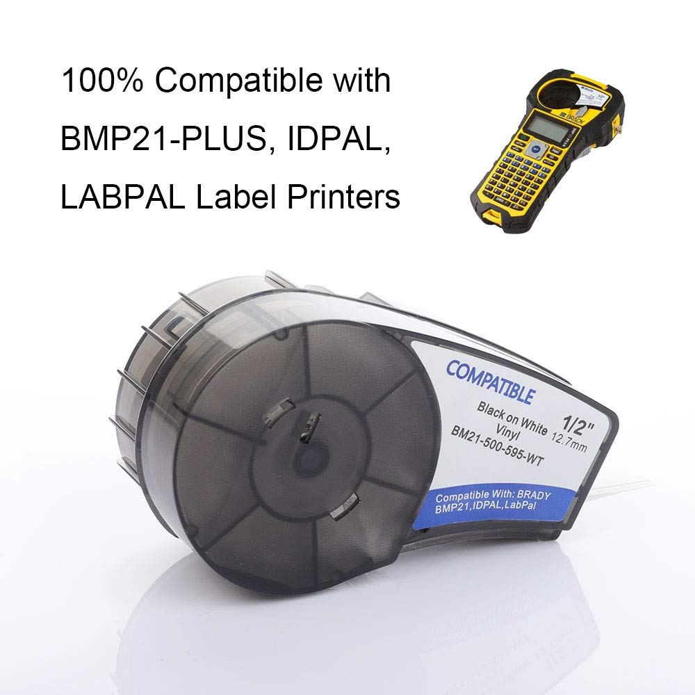 2-Pack Replace Brady BMP 21 Vinyl 0.5 in 12.7mm Black on White Label Tape Case M21-500-595-WT High Adhesion Lab Cartridge Compatible with Brady Printer BMP21-PLUS IDPAL and LABPAL