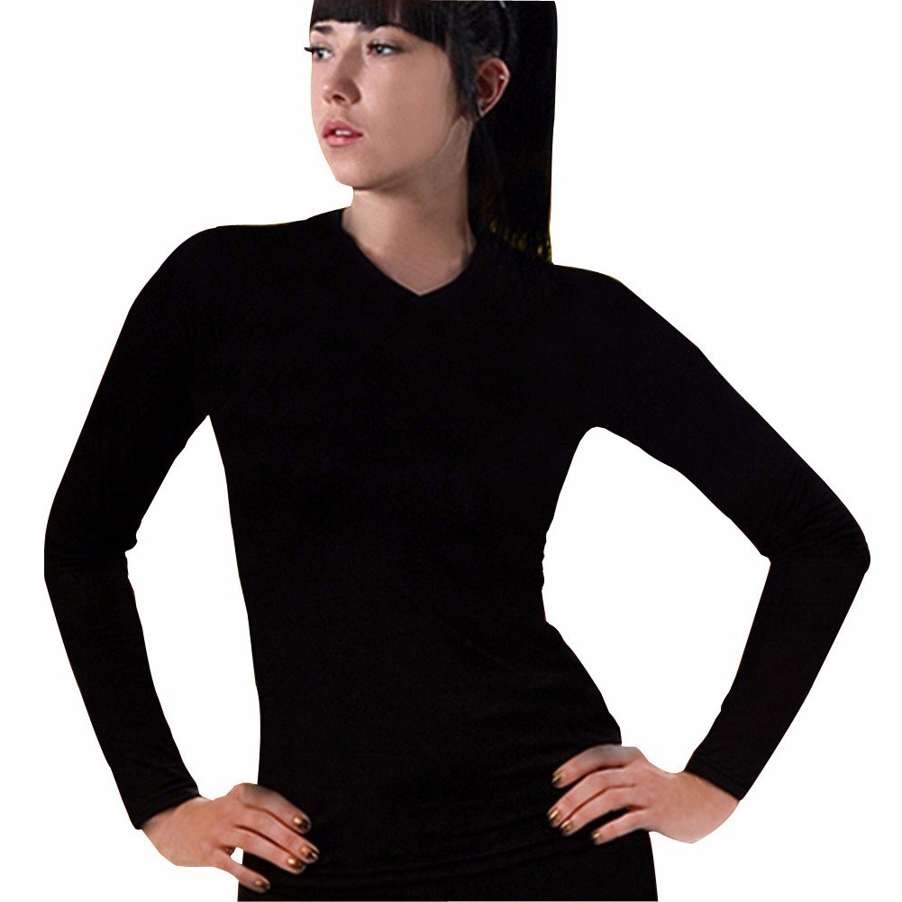 Women Thermal Underwear Shirts Top Base Layer V Neck Long Sleeve Compression CLW Henri maurice