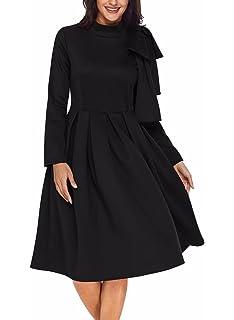 Marteleum Women s Bowknot Embellished Long Sleeve Mock Neck Midi Skater  Dress With Pockets(S- 84604453d