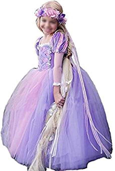 Monissy Niña Rapunzel Vestido de Princesa Tul Tutú Manga Larga ...