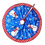 Funpa Christmas Tree Skirt, 31 Inch Snowman Printed Mat Christmas Tree Decoration for Kids Xmas Party Home Decoration