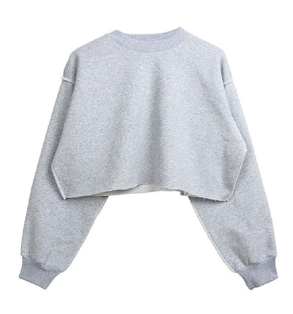 Cromoncent Womens Long Sleeve Casual Crop Tops T Shirt Sweatshirts