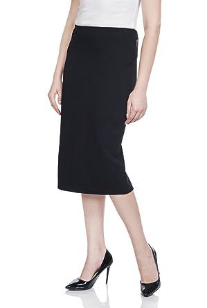 6e920b667 Women Rayon Stretch Knee Length Pencil Skirts Ladies Slim Fit Work Skirt by  Soshow - Black -: Amazon.co.uk: Clothing