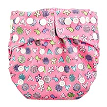 Bumkins All in One Cloth Diaper - Snap - Love Birds - One Size, Pink
