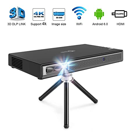 TOUMEI T5 Mini Projector Portable, 200 ANSI Lumens Pico Projector, Android DLP Projector Home Cinema, Support 1080P 4K HDMI 3D DLP-Link, Compatible ...