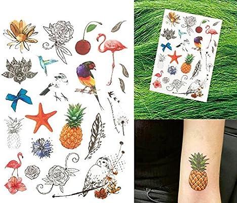 Piña búho Muelle Pájaros y Flores Tatuajes para pegar para cuerpo ...