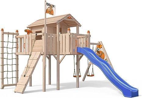 terrizio XL de parte Torre algodón casa con balancín Cultivo, tobogán, columpio doble, Rampa de escalada, red de escalada y Casa de juguete en 1,50 ...