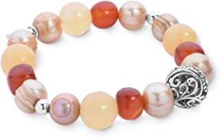 product image for Carolyn Pollack Sterling Silver Gemstons & Dyed Freshwater Cultured Pearl Stretch Bracelet Size S/M and M/L