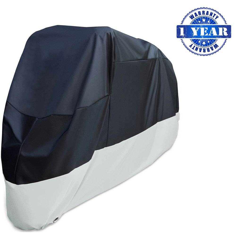 XYZCTEM Motorcycle Cover-All Season Waterproof Outdoor Protection - Precision Fit for 116 inch Tour Bikes, Choppers and Cruisers(XXXL,Black& Sliver)-1 Year Warranty
