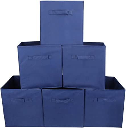 Uzou - Caja de almacenaje de tela sin tapa, 27 x 27 x 28 cm, azul, Lot de 6: Amazon.es: Hogar