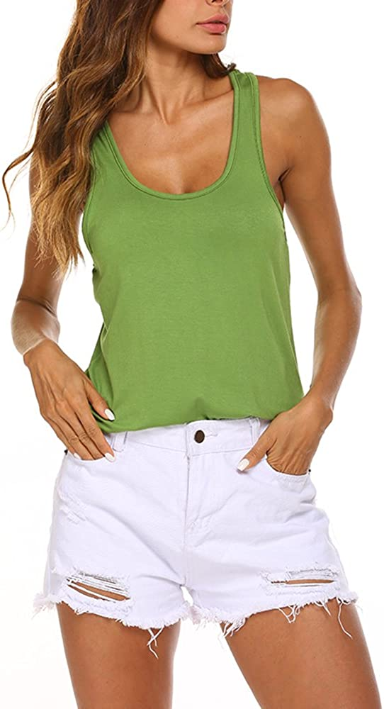 Poetsky Women High Low Hem Backless Workout Tank Top Sleeveless Yoga Tops