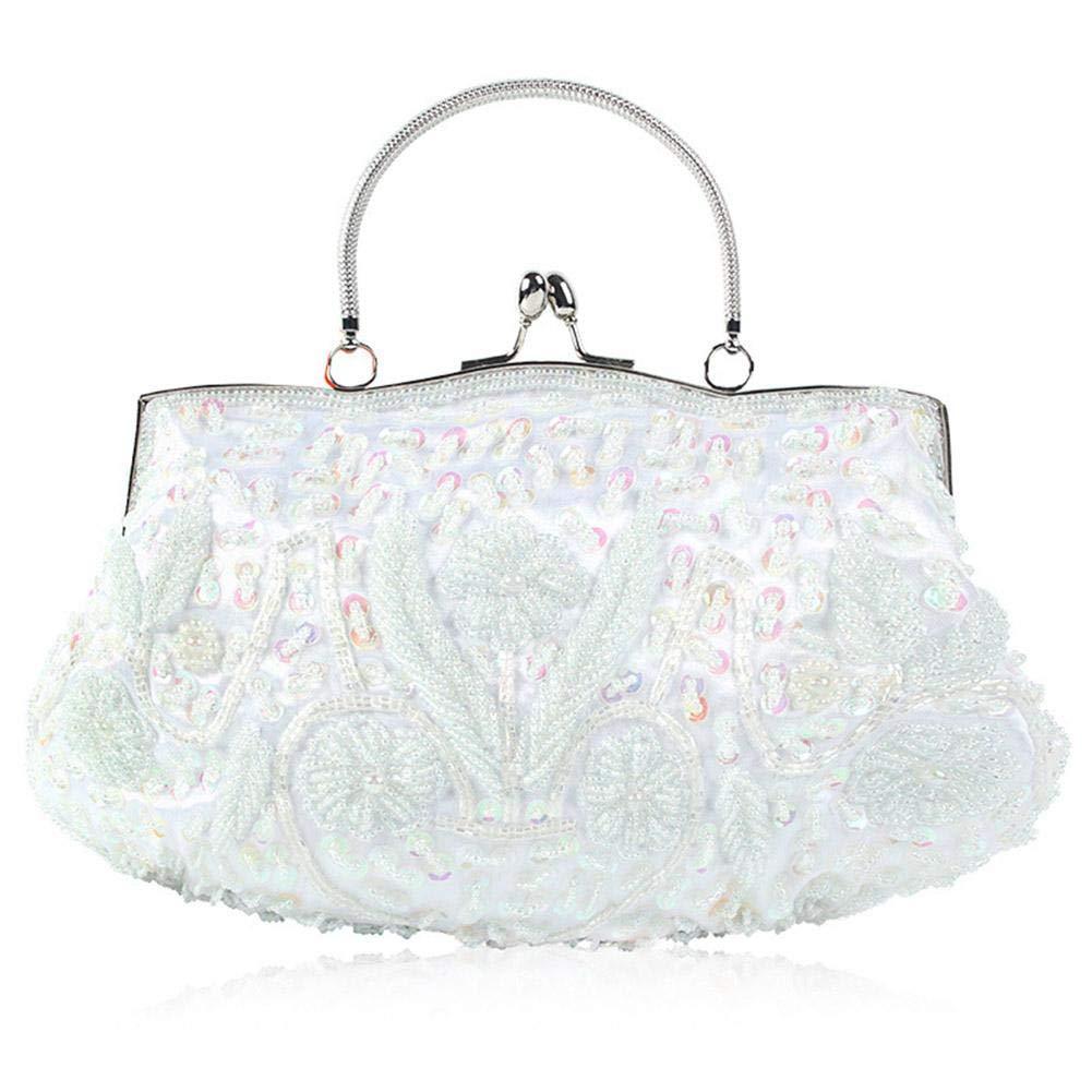 1920er Vintage Damen Clutch Handtasche für Hochzeit Party Elegante Abendtasche mit Pailletten Dekorative Kettentasche Umhängetasche Envelope Clutch Tasche mit Abnehmbare Kette Crossbody Messenger Bag SAWEY